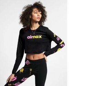 Nike Air Max Black Long Sleeve Crop Top Shirt $45